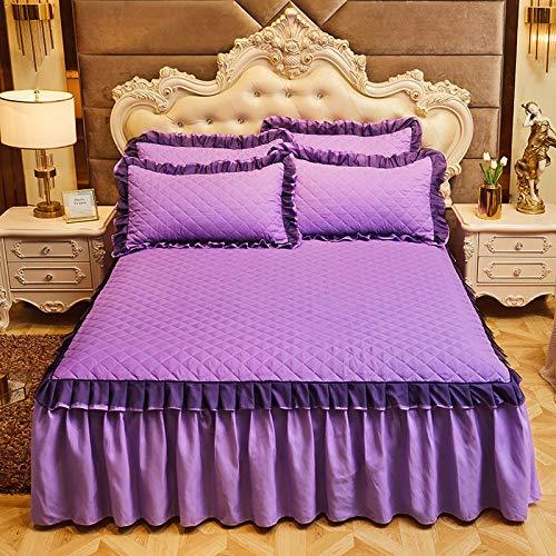 Falda de Cama Coreana de Tres Piezas, Falda de Cama Antideslizante Acolchada Gruesa, Protector de colchón con Todo Incluido Grupo de Cama de 120 * 200 cm púrpura