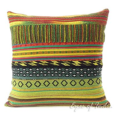 Eyes of India 16  Yellow Dhurrie Patchwork Throw Pillow Couch Sofa Cushion Cover Colorful Boho Bohemian Indian