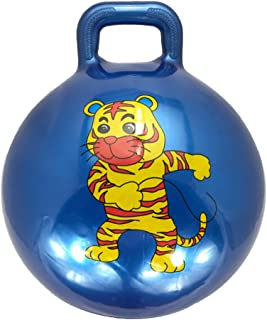 Tomaibaby Kids Hopper Ball Cartoon Tiger Pattern Fitness Jumping Ball with Handle Sit Bouncy Ball Game Relay Race Toy for ...