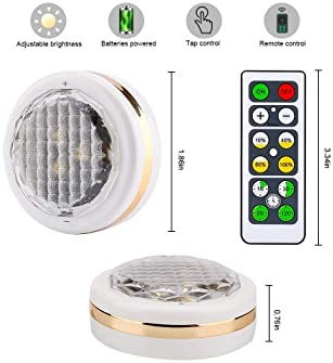 LEASTYLE Wireless LED Puck Lights with Remote Control 6 Pack, LED Under Cabinet Lighting,Puck Lights Battery Operated...