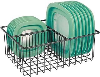 mDesign Organizador de tapaderas – Práctica cesta de almacenaje con 3 compartimentos para ordenar tapas – Moderna cesta metálica para organizar la despensa – negro