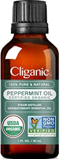 Cliganic USDA Organic Peppermint Essential Oil, 1oz - 100% Pure Natural Undiluted, for Aromatherapy   Non-GMO Verified
