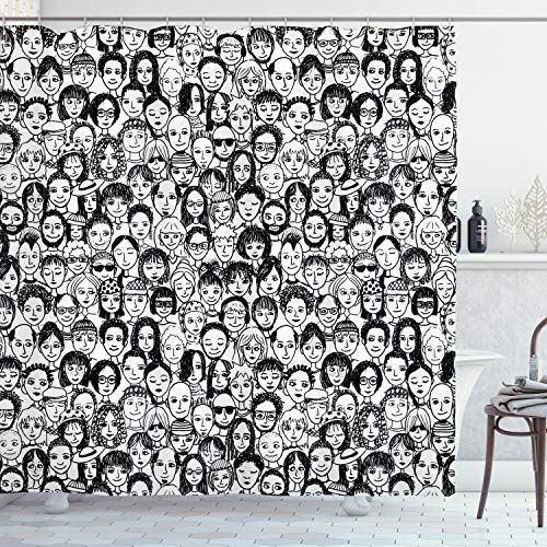 ABAKUHAUS En Blanco y Negro Cortina de Baño, Retrato, Material Resistente al Agua Durable Estampa Digital, 175 x 180 cm, Blanco Negro