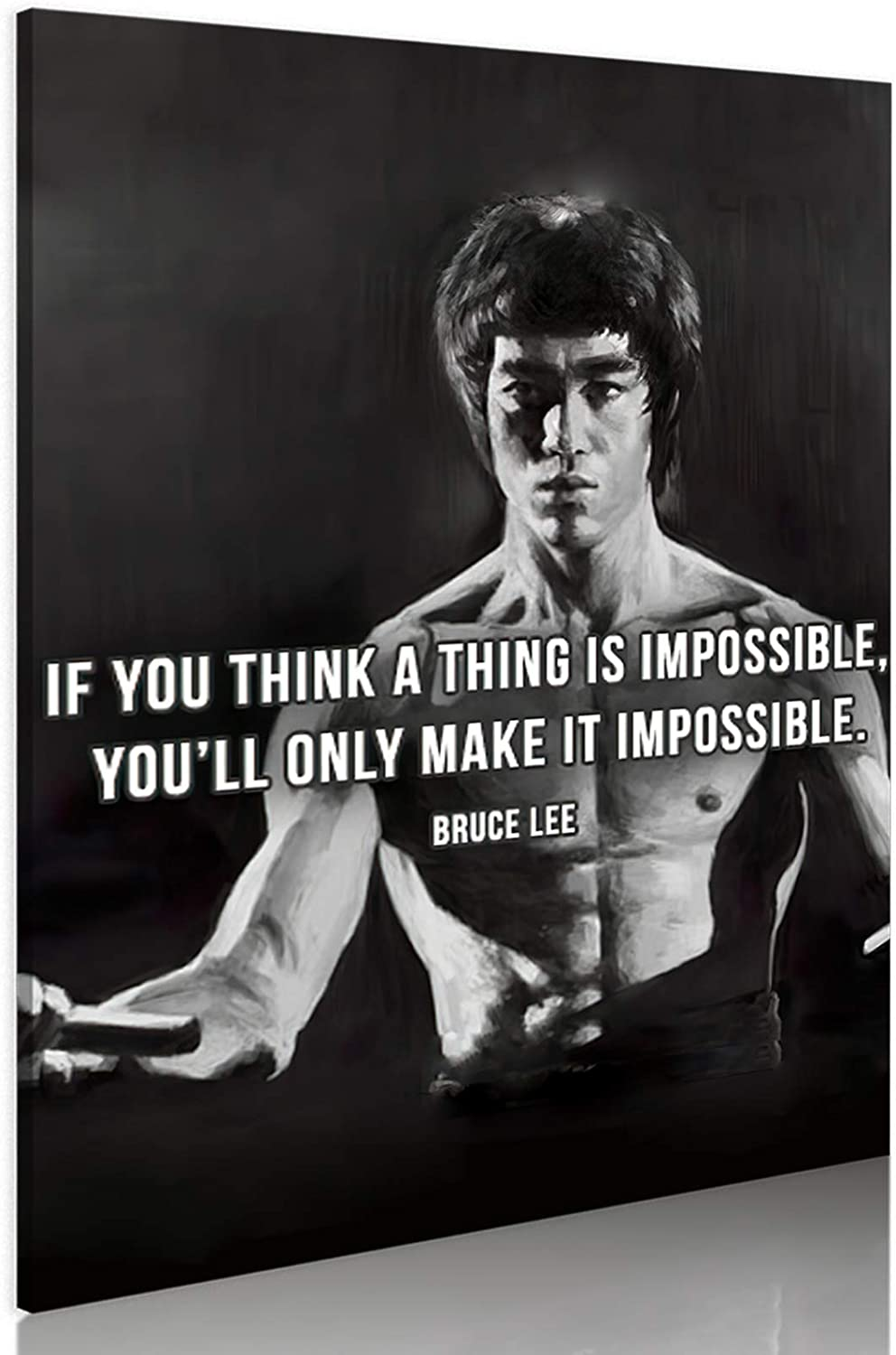 Bruce Lee Inspirational Canvas 1 year warranty Wall Fu Credence Classic Art Portrai Kung