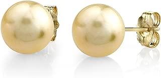 golden pearl stud earrings
