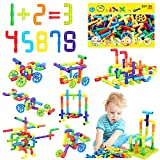 175 Pieces STEM Toy Pipe Tube Building Kit for Kids, Creative Interlocking Construction Blocks Sets with Wheels Baseplate Educational Learning Preschool Gift for Tolddlers Boys Girls Age 3 4 5 6 7 8