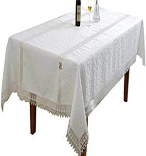 "Violet Linen Oblong/Rectangle Tablecloth, White, 70"" X 120"""