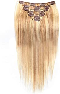Hairpieces Hairpieces 20 Inch Clip in Real Hair Extensions - #27/613 Blonde Highlighted Brown Full Head 7pcs Straight Hair for Daily Use and Party (Color : #18/613 Blonde)