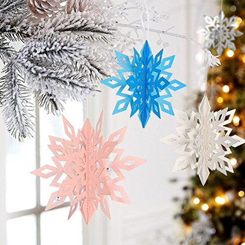 Naisidier 3D Schneeflocken,DIY 3D Schnee Schneeflocke als Weihnachtsbaumdeko Fensterdekoration