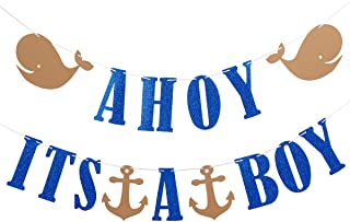 Ahoy Its A Boy Glitter Banner- Nautical Theme Baby Shower Party Banner Decor or Baby Boy Party Decoration Supplies- Safe & Eco-Friendly Stand
