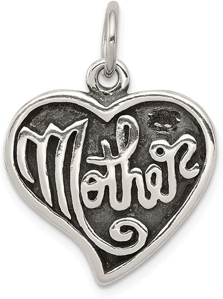 Solid 925 Sterling Silver Antique Mother Heart 2 Quantity limited Spring new work one after another Charm Pendant -