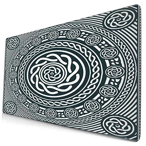 HASENCIV Alfombrilla de Ratón,Diseño Circular Celta,étnico irlandés con líneas espirales retorcidas en el Sentido de Las Agujas del Reloj Arte Insular,Mouse Pad - Precisión y Velocidad