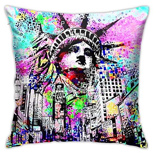 Funda de almohada cuadrada con diseño de estatua de la libertad, ideal para interiores y exteriores