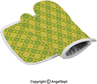 Lemon and Lime Figures in Pop Art Inspired Pastel Toned Squares Graphic, Oven Gloves,BBQ Gloves Polyster,Yellow Lime Green,with Insulated Square Mat Combination
