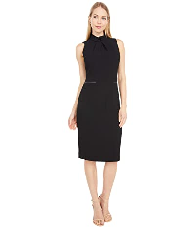 Tahari by ASL Mock Neck Textured Crepe Sheath with Faux Leather Trim (Black) Women