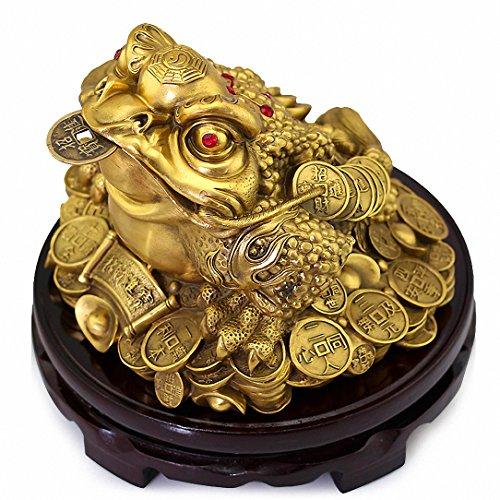 Large Size Brass Feng Shui Money Frog(Three Legged...