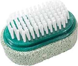 Two Sided Foot Scrubber: Pumice Stone Smoother & Bristle Brush Foot Exfoliator (Green)