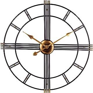 Large Wall Clock, European Royal Vintage Art Clock, Indoor Silent Battery Operated Metal Decorative Clock for Home, Loft, Living Room, Kitchen, Den - 24 Inch, Black & Gold