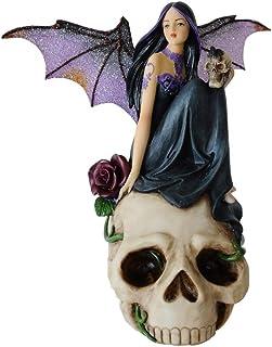 "Comfy Hour 7"" Dark Fairy Witch on Skull Figurine"