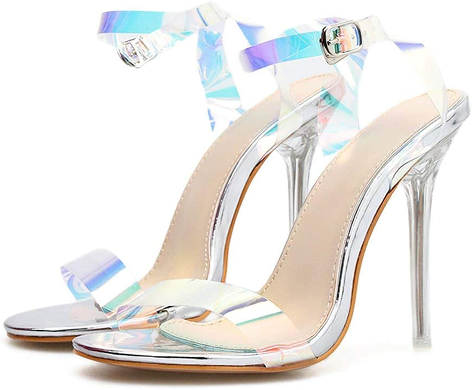 Tiwcer Summer Sandals Crystal 11cm High Sexy Strap Female Transparent Clear Block Jelly Metal Heels shoes