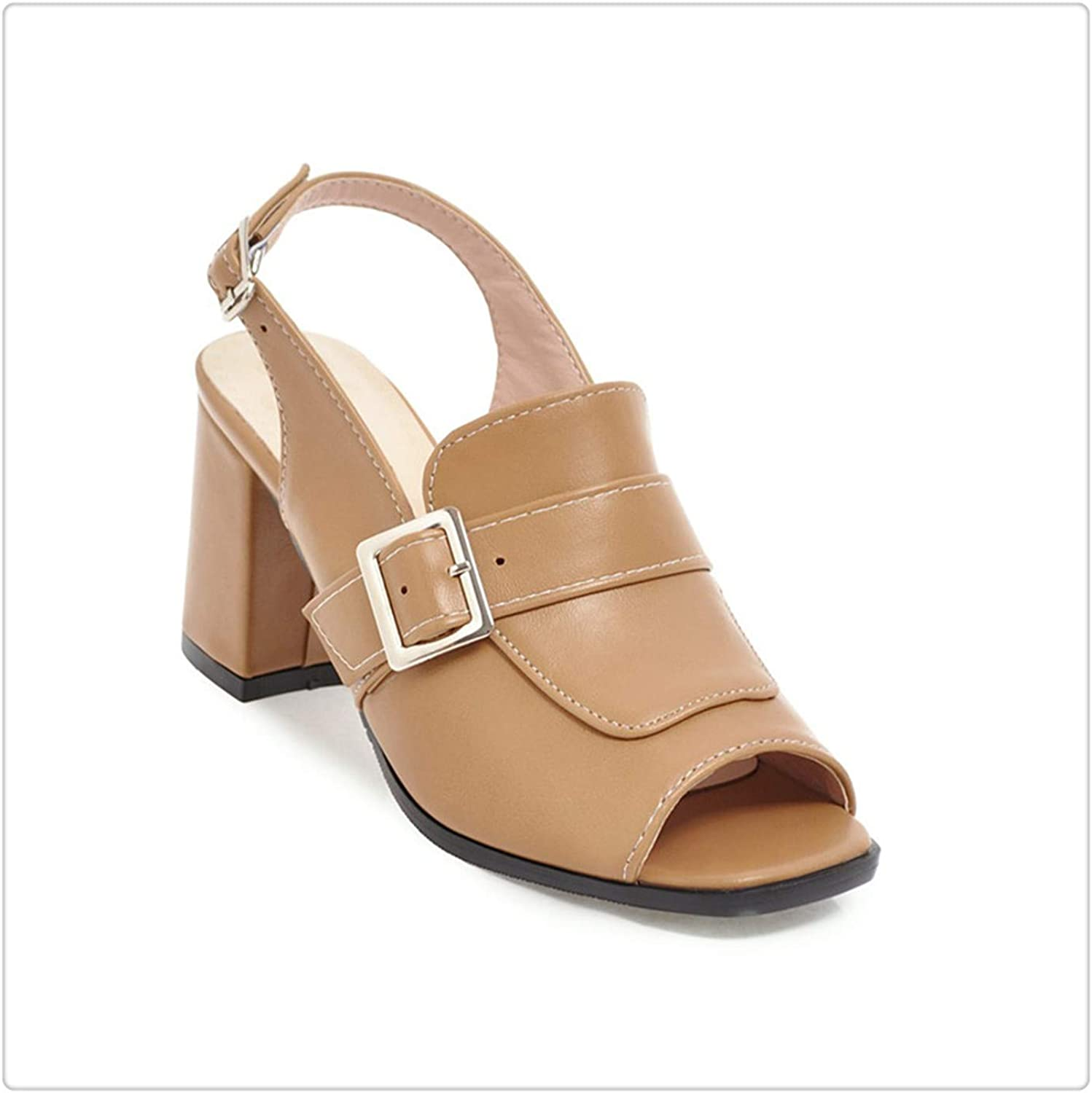 ZXCVB& Woman Fashion squareHigh Heels Sandals Women Summer Open Toe shoes 2019 Womens Female Buckle Slingback Casual Party Sandal Apricot 10