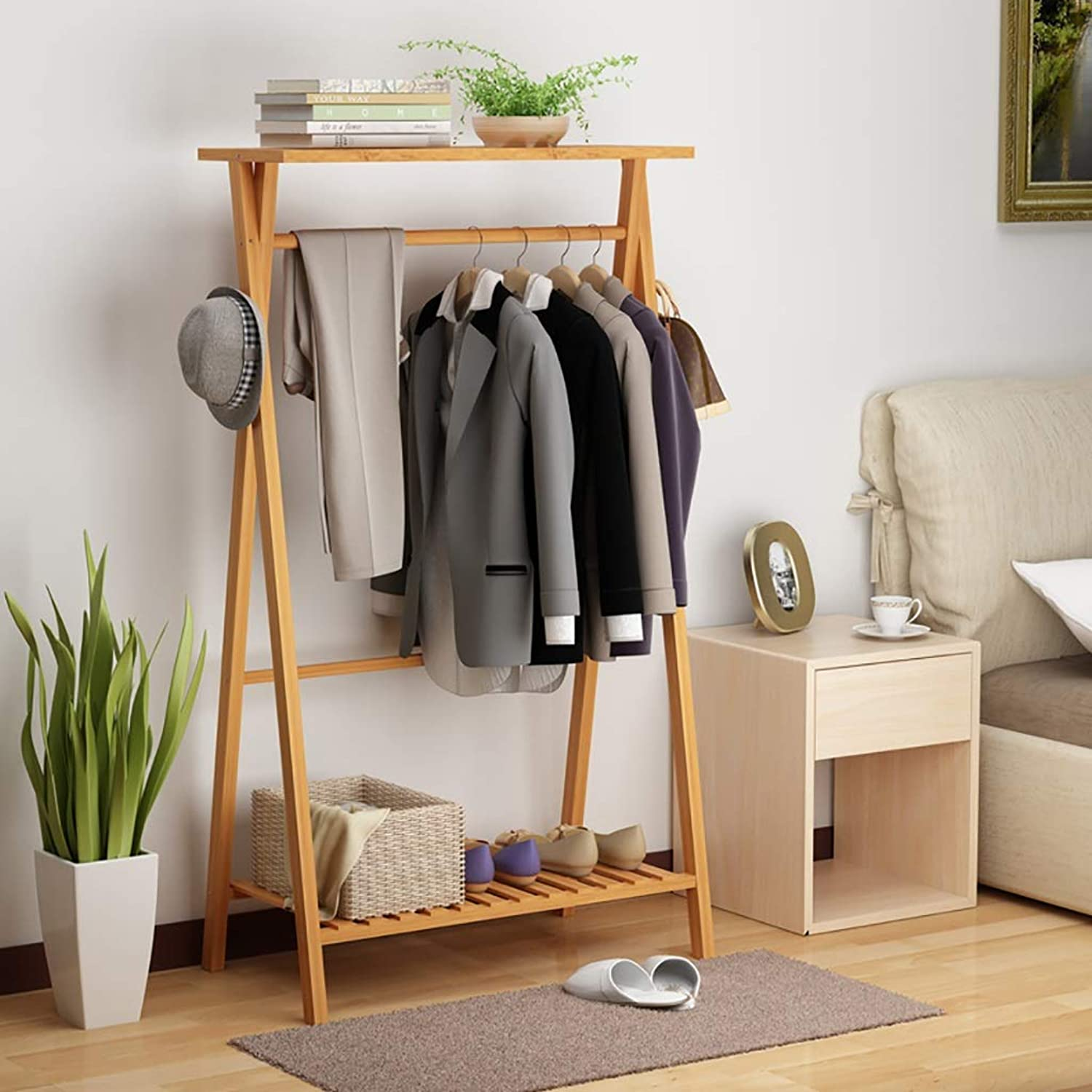 NSS Coat Rack Floor-Standing Solid Wood Clothes Hanger Single Pole Clothes Tree Simple Suitable for Bedroom Living Room and Other Scenes Hall Tree