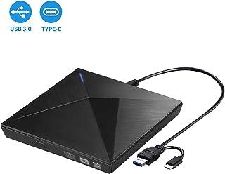LeeKooLuu External DVD Drive for Laptop, Portable High-Speed USB-C&USB 3.0 CD Burner/DVD Reader Writer for PC Desktops, Compatible with Windows/Mac OSX/Linux