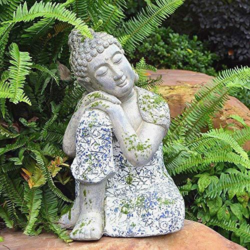 Large Buddha Sitting Head On Knee Sleeping Stone Garden Ornament Zen Meditating For outdoor decoration