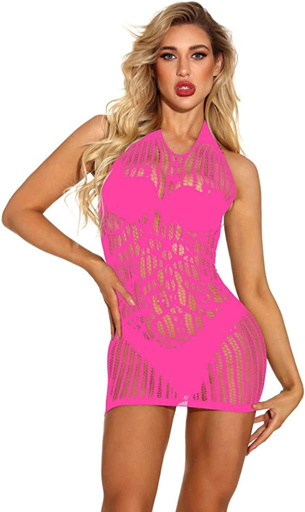 HebeTop Sexy Underwear Fishnet Babydoll Nightwear Dress Solid Hollow Out Transparent Mesh Lingerie Modal Chemises