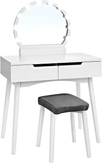 VASAGLE Vanity Table Set with 10 Light Bulbs and Touch Switch, Dressing Makeup Table Desk with Large Round Mirror, 2 Sliding Drawers, 1 Cushioned Stool for bedroom, bathroom, White