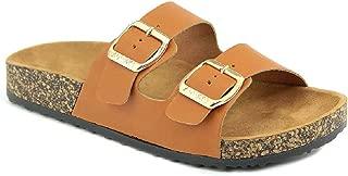 Women's Flat Casual Soft Cork Slides Sandal Double Adjustable Buckle Strap Slip on Summer Shoes