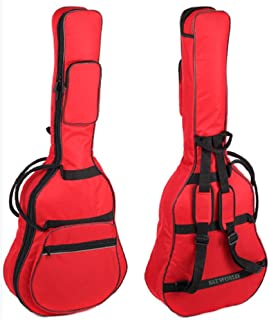 フォーク ギター 用 ギグ バッグ (厚手 クッション 付き) アコースティック ギグケース 色 選択 可 (レッド(赤))