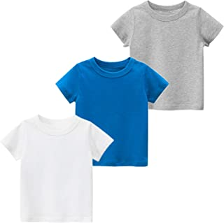 JUNOAI Kids Toddler Boys Short Sleeve Crewneck T-Shirts Top Tee Size for 2-7 Years (Pack of 3)