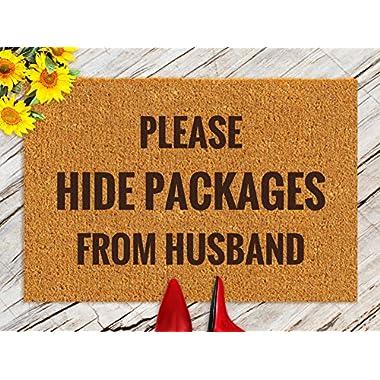 DKISEE Indoor Outdoor Entrance Rug Floor Mat Bathmat Please Hide Packages From Husband Rubber Doormat, 18 x30