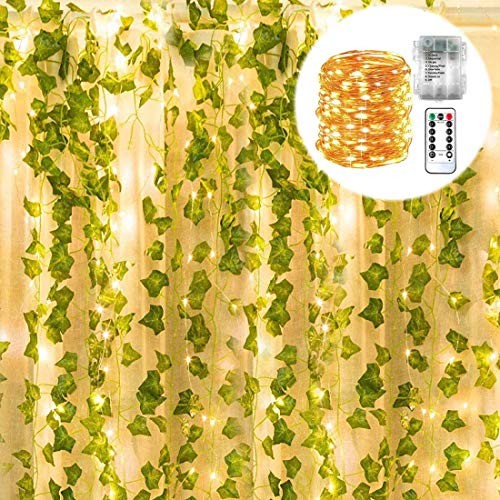 POCKETMAN Artificial Ivy Garland Fake Plants with 100 LED String Light Home Kitchen Garden Office Wedding Wall Decorrden Office Wedding Wall Decor 12 Pack