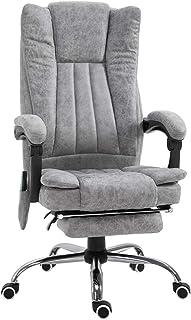 Silla de oficina de masaje vibratorio de 6 puntos, silla ejecutiva de piel sintética, reposapiés acolchado de calor reclin...