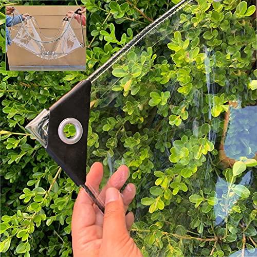 Lona Impermeable Exterior Transparente, PVC a Prueba De Lluvia, Cubierta De Lona para Acampar De Plantas De Jardín a Prueba De Heladas, Lona Alquitranada con Ojales,Transparent-1.5×1.8m/59×70.9in