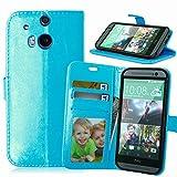 Funda HTC One M8 M8s ,Bookstyle 3 Card Slot PU Cuero cartera para TPU Silicone Case Cover-Azul
