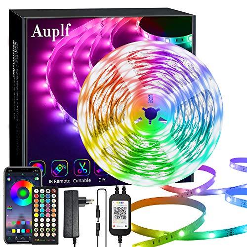 Auplf 20M Led Streifen,Dimmbar RGB LED Band,Ultralang Bluetooth LED Strip 5050 SMD LED Licht Streifen Musik Sync, Über APP-Steuerung und 40keys Fernbedienung für Schlafzimmer Party Dekoration