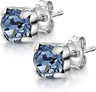 Amberta Women's 925 Sterling Silver Lumini Crystal Square Stud Earrings