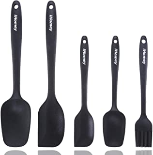 iHomey Silicone Spatulas Set—446ºF Heat Resistant Rubber Spatulas/Nonstick for Baking Mixing Cooking/Seamless Design/Dishwasher Safe/BPA Free(5 Pieces, Black)