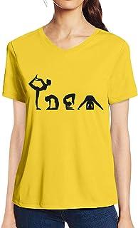 Pooplu Womens Vector Yoga Cotton Printed V Neck Half Sleeves Multicolour t.Shirt. Exercise & Gym t Shirt