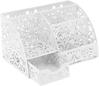 EasyPAG Office Desk Organizer 5 Compartments Desktop Accessories Caddy with Drawer,White