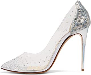 Women Studded Pointed Toe Transparent Pumps High Heels Shoes with Cute Bowknot Size 4-15 US