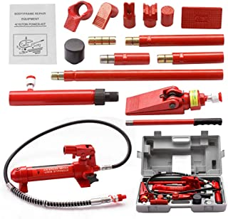 ZENY 4 Ton Portable Porta Power Hydraulic Ram Hydraulic Jack Auto Body Frame Repair Kit Tools w/Carrying Case