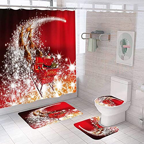 Christmas Shower Curtain, Christmas Bathroom Shower Curtain, Easter Shower Curtain, 12 Hooks,Polyester Material,Waterproof and Machine Washable, 70x70 inches(only Christmas Shower Curtain)