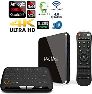 Apes Amlogic S905-X2 H96 MAX-X2 Android 8.1 Bluetooth 4.1 64GB/4GB Quad Core 1080p 4K 3D Dual WiFi 5G TV Box + Touchpad Wireless Keyboard Remote