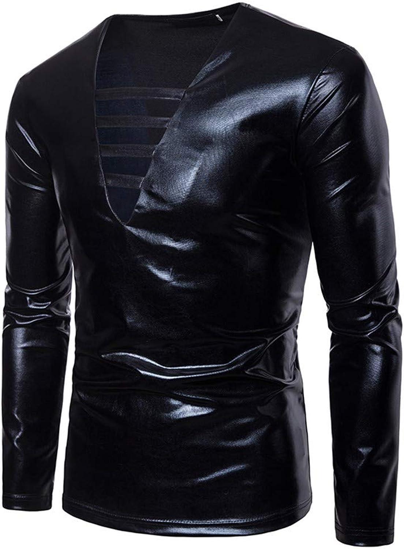 Sweatshirts Men's Pure color Nightclub Pure color Bronzing Performance V Collar Long Sleeved TShirt Sweater