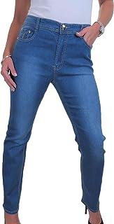 icecoolfashion Jeans A Gamba Dritta in Denim Elasticizzato con Dettaglio A Vita Alta 46-56