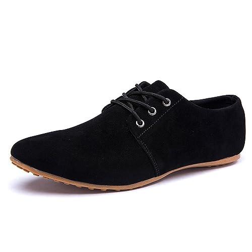 0eb32e40a17915 DEARWEN Men's Casual Suede Leather Lace up Oxford Shoes Black US 8.5